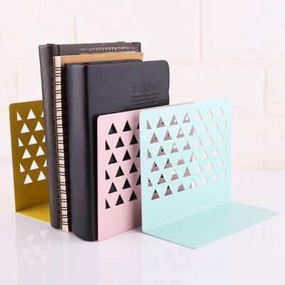 Metal Hollow Desktop Organizer Bookends Book Ends Support Stand Holder Shelf
