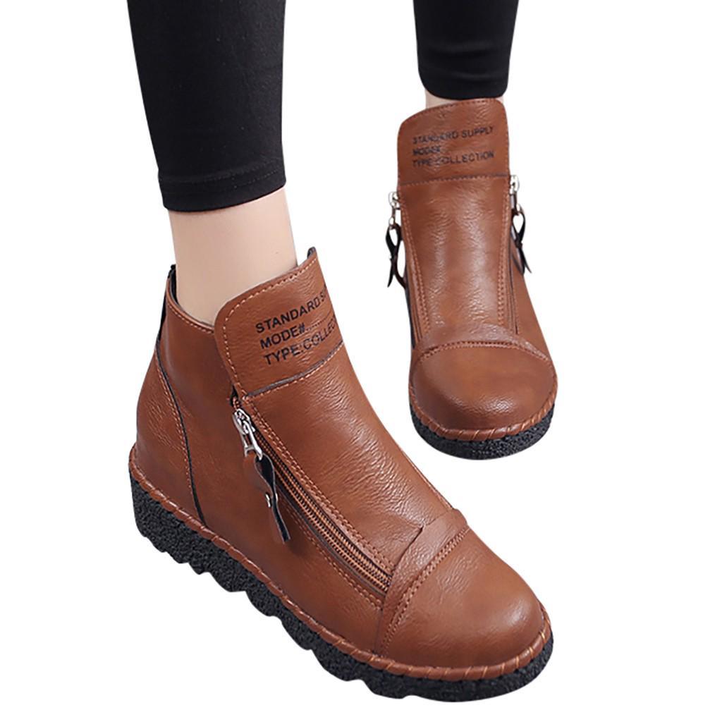 Дамы женщин Ынистовые Мода лодыжки Циппер Увеличение случайных круглый нос короткие сапоги обувь – купить по низким ценам в интернет-магазине Joom