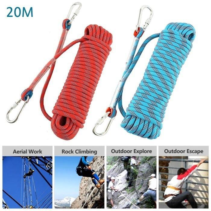 2 Meters 22KN Rock Tree Climbing Safety Loop Sling Rope Rescue Equip Gear
