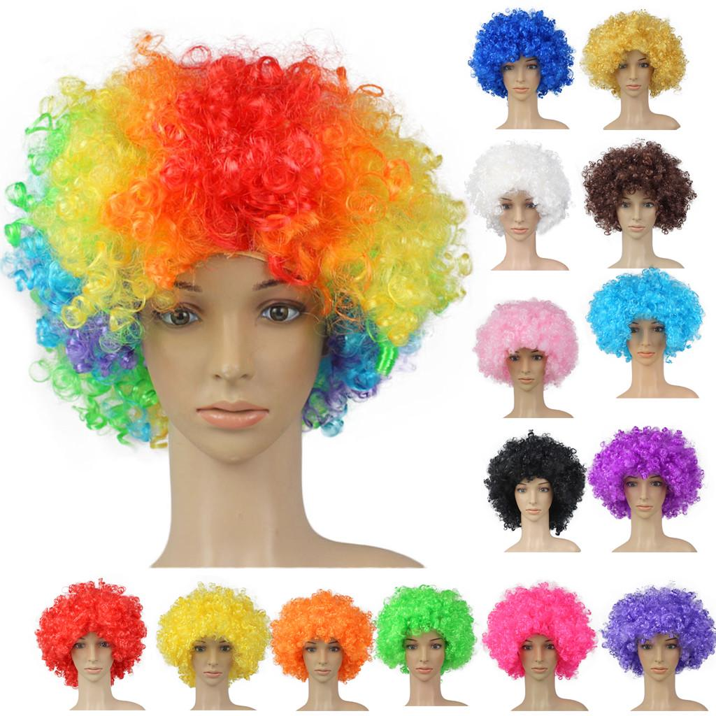 FOOTBALL SUPPORTERS BLUE WHITE AND RED AFRO WIG NOVELTY HAIR FOR SPORTS EVENT