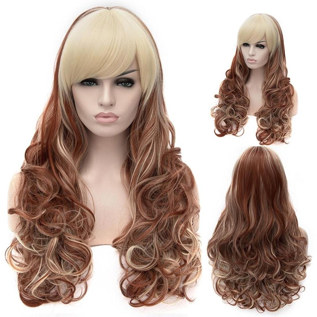 Cosplay Wig Flaxen Brown Highlights Long Curly Hair Wig Buy At A Low