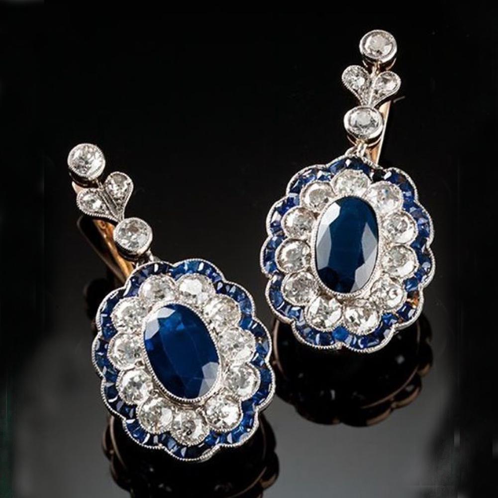 Vintage Women Blue Sapphire Alloy Birthstone Wedding Drop Dangle Earrings