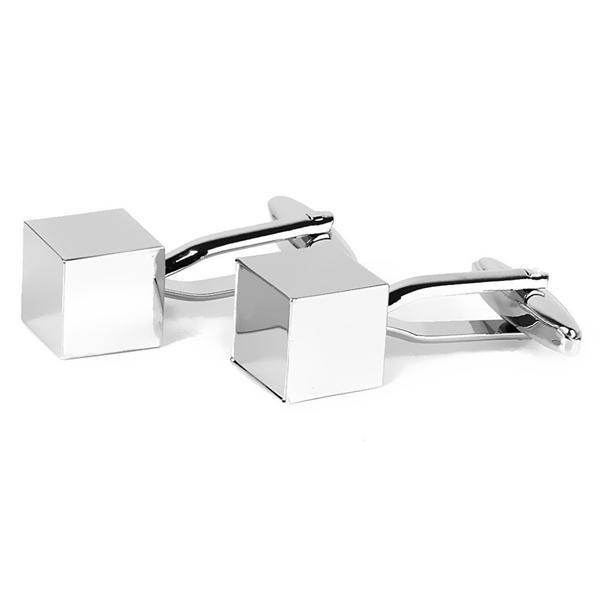 Buttons silver 1 Pair Of Mens Cube Shaped Stainless Steel Cufflinks Sleeves Buttons