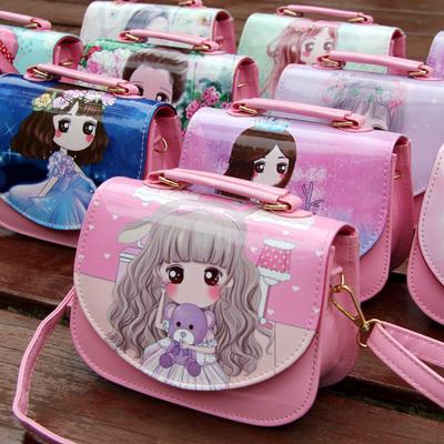 7527aa5cab842 Los niños Pu cuero brillante chica solo hombro Crossbody bolsas princesa  bolso dibujos animados Floral monedero