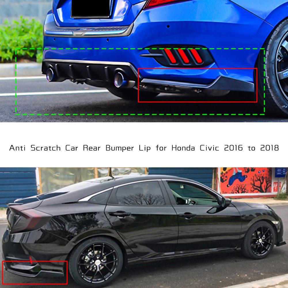 2x Carbon Fiber Look Rear Bumper Lip Diffuser Splitter Canards For Honda Civic