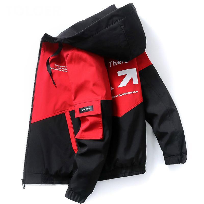 Весенняя осень Multi-ткань Дизайн Мужские куртки с капюшоном Loose Случайные Печатные Windbreaker Куртка Мужчины Хип-хоп пальто – купить по низким ценам в интернет-магазине Joom