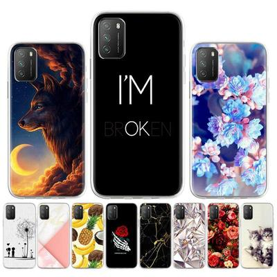 Soft Case for Xiaomi Poco M3 Silicone Case for Xiaomi Poco M3 M2010J19CG Cover Cute Cat Animal Flowers Patterned Phone Bumper