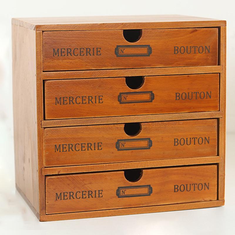 Vintage Wooden Storage Box Wood, Desktop Drawers Wood
