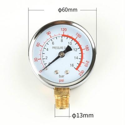 0~60 bar 0-6Mpa Pressure Measuring Tool 1//4in NPT 60mm Dial Mini Air Hydraulic Water Pressure Meter Hydraulic Pressure Gauge