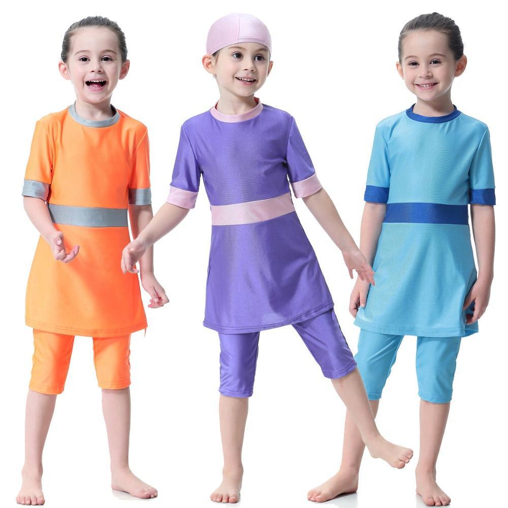 Child Beach Swimming Cap Dress Swimsuit Girls Kids Swimwear Muslim Cover Burkini
