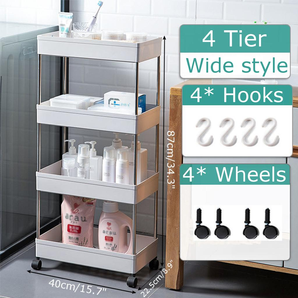 4 Tier Rolling Cart With Wheels For, Rolling Bathroom Cart