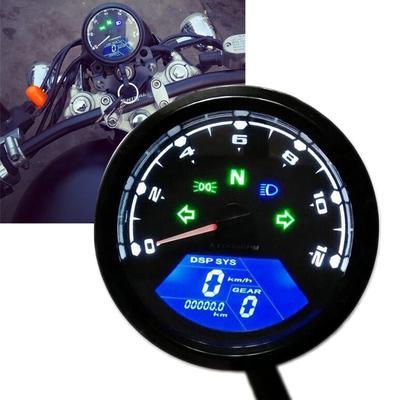 MagiDeal Motorcycle LED Digital Odometer Speedometer Tachometer Gauge Turn High Beam