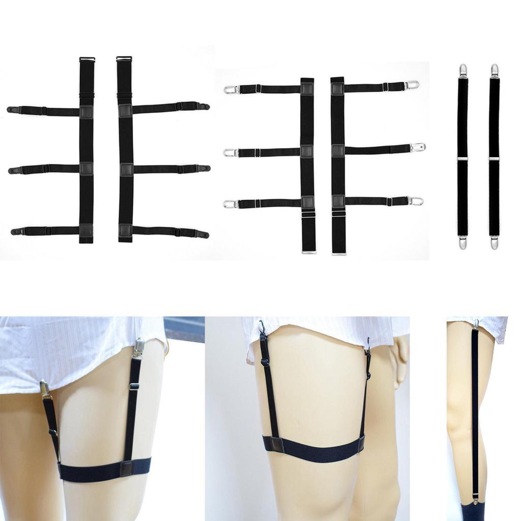 Men Shirt Stays Elastic Leg Garters Locking Thigh Belt Suspend Keep Holder 1Pair