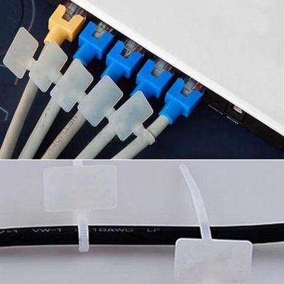 100x Nylon Self-Locking Label Zip Tie Network Cable Marker Cord Wire Strap