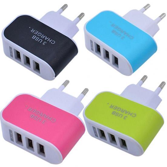 3.1a тройной USB порт дома поездки зарядное устройство адаптер для ЕС разъем с индикатором фото