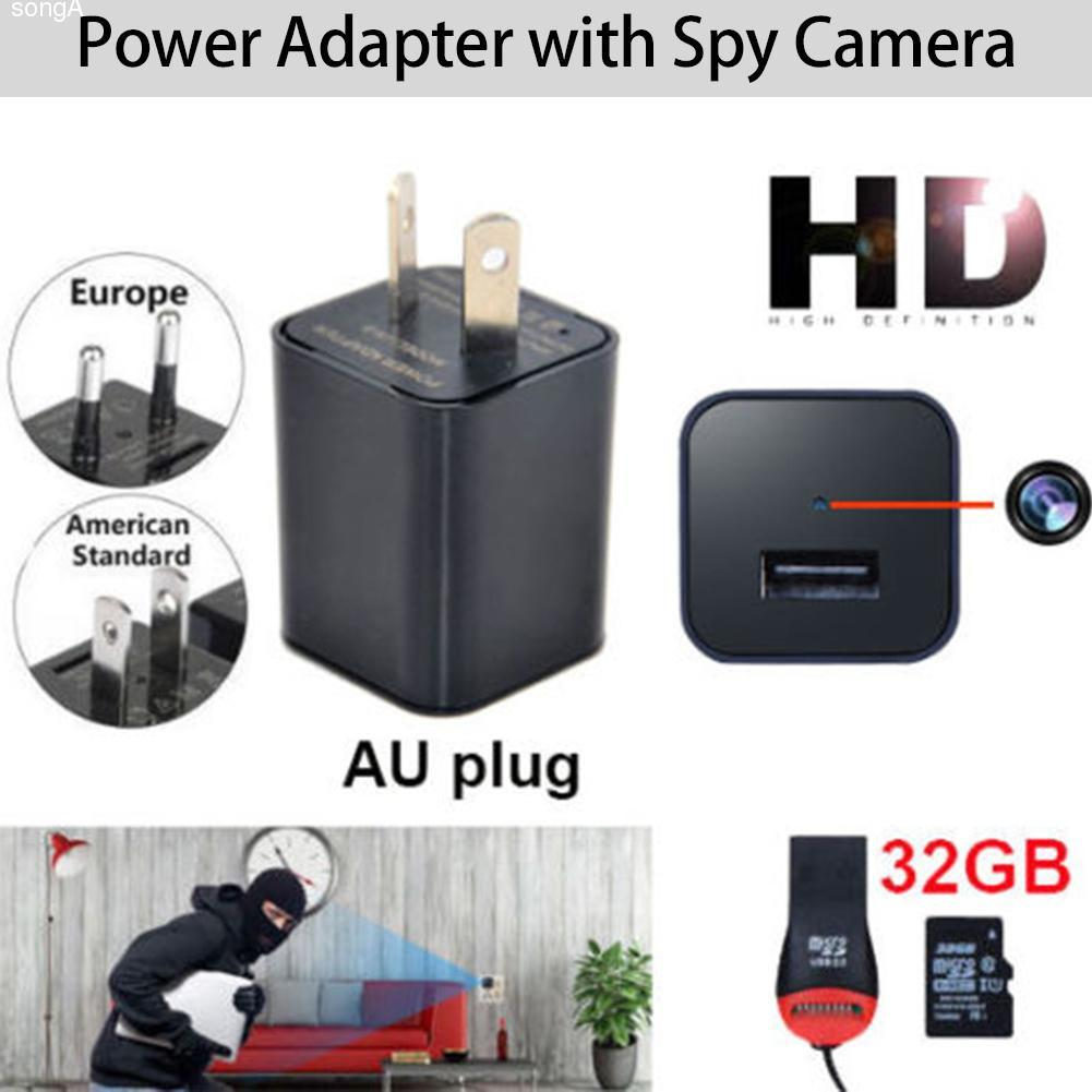 1080P USB Mobile Phone Charger AU AC Adapter Home Security Baby Monitor Hidden Camera