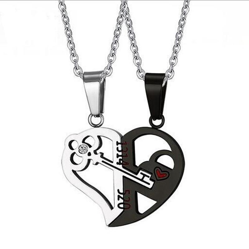 les femmes je t/'aime lock and key pendentif coeur collier chaîne de couple
