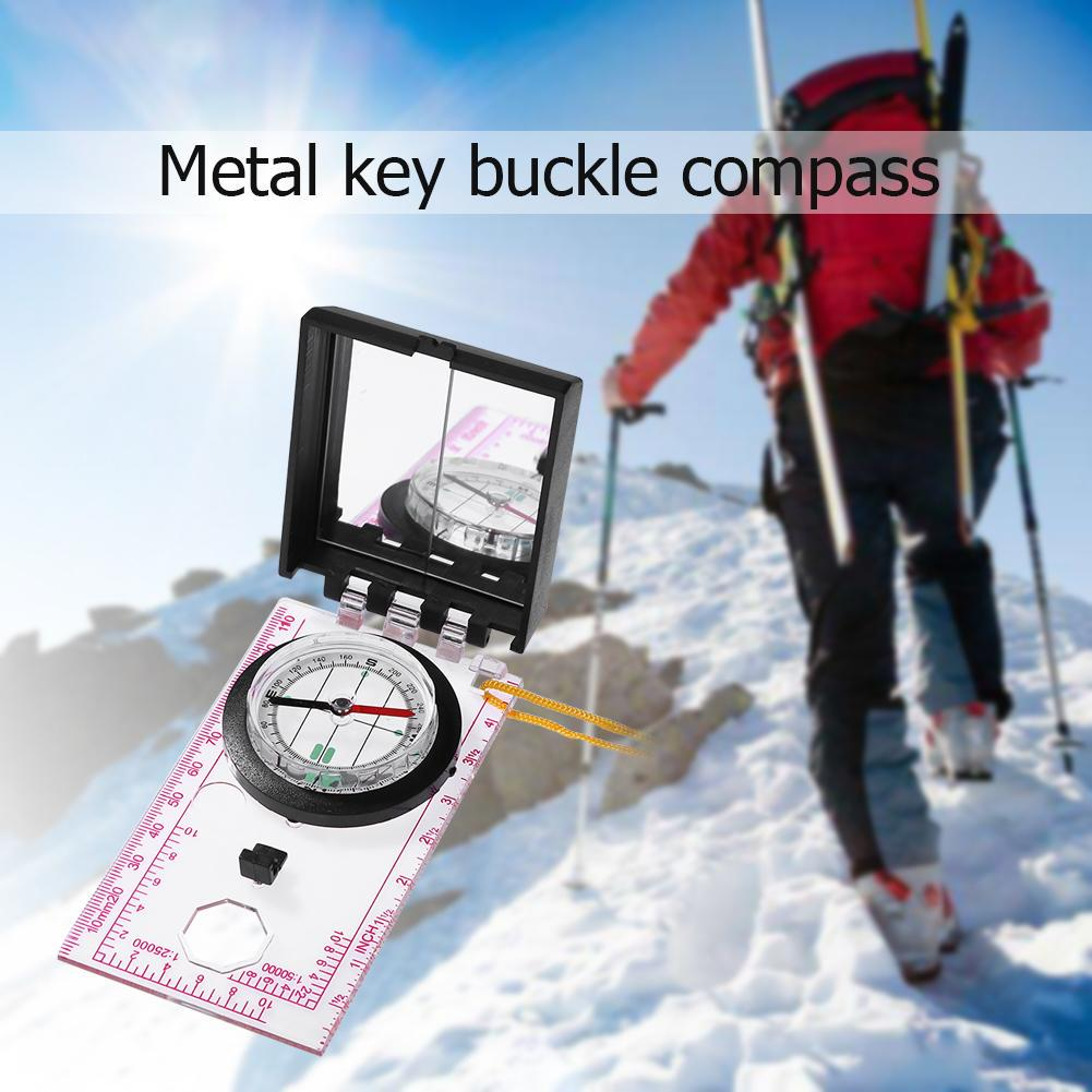 1pc Outdoor Survival Camping Hiking Compass Tool With Mapping Ruler and Mirror