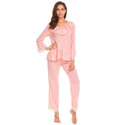 f2559301978d Женщин V шеи рукав оборками кружева пэчворк блузка длинные брюки пижамы  набор
