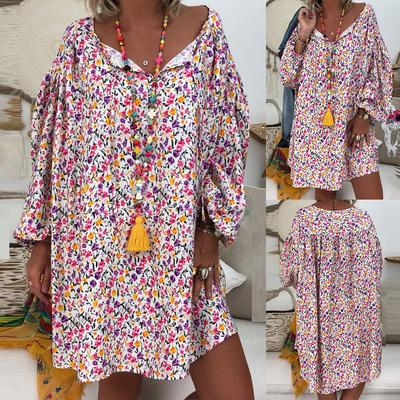 Women Boho Tunic Mini Dress Summer Casual Deep V-Neck Floral Printed Flare Long Sleeve Loose Beach Short Dresses