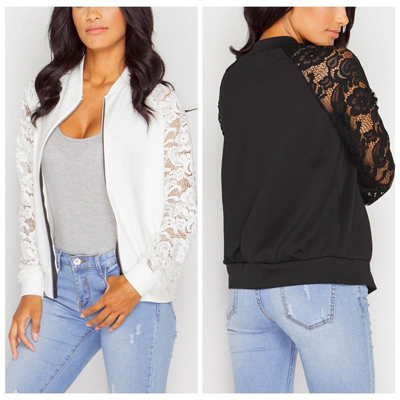 Las mujeres manga larga encaje costura chaqueta hueco - comprar a ...