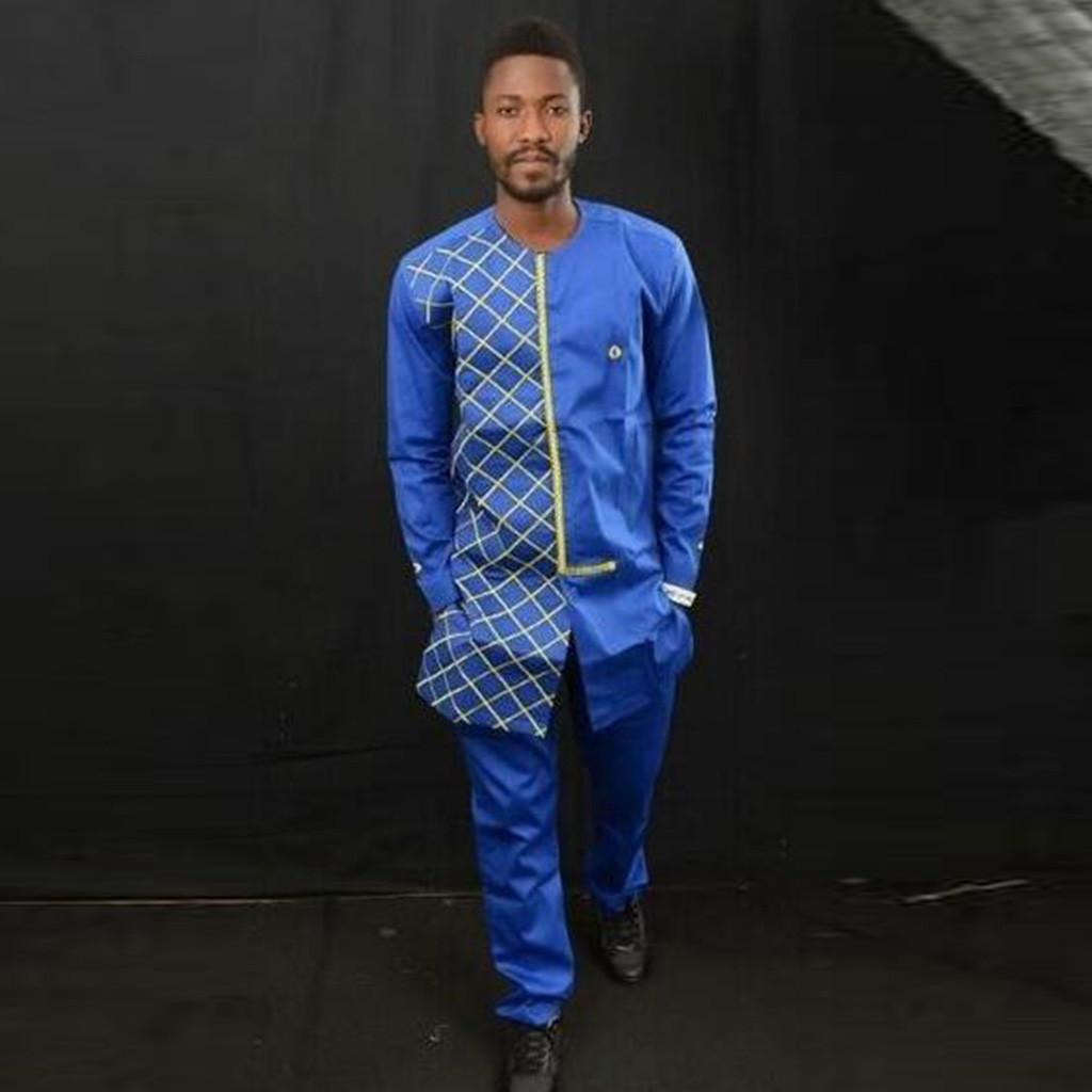 2-Piece Fashion Suit Mens Autumn Winter Luxury African Print Long Sleeve Dashiki Shirt Suit