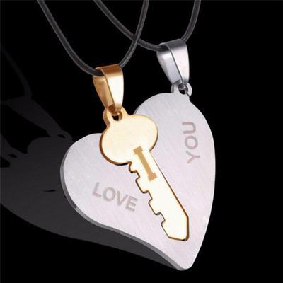 Amazing Titanium Stainless Steel Romantic Love Couple Pendant Necklace Matching Set Valentine Gift