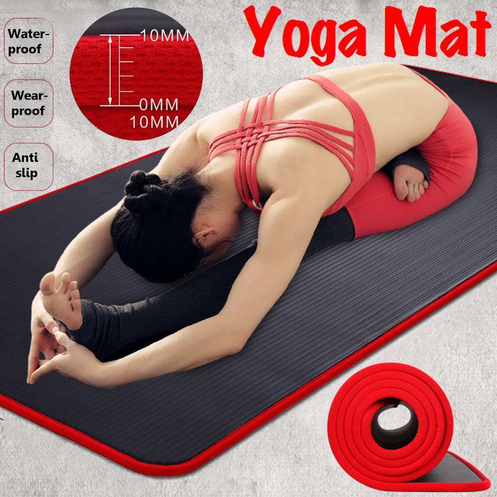 Women Men Yoga Mat Lightweight Fitness Gym Cushion Exercise Meditation Pad Black