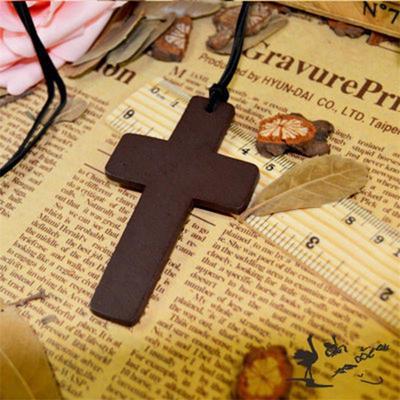 2PCS Cross Wooden Unisex Christian Pendant Imitation leather Necklace Gift  Jewelry e60bb6f6c1