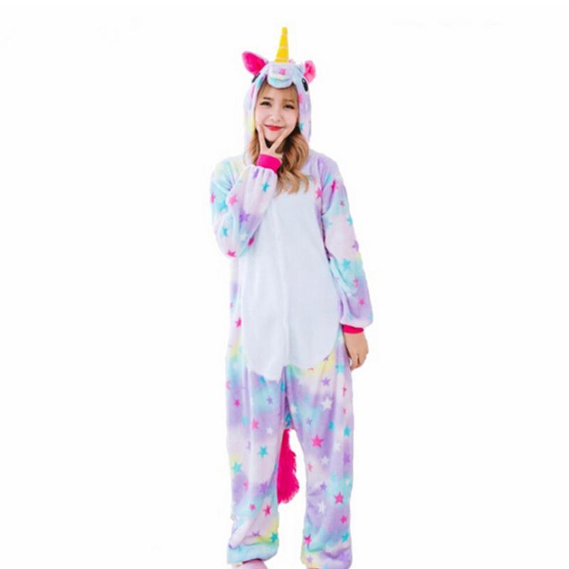 3ccfc381b0 Sleepwear pink unicorn Pajama Sets Cartoon Winter Women Flannel ...