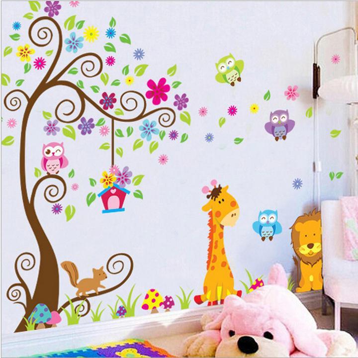 Giraffe Löwe Eule bunt Baum Wandsticker für Kinder Zimmer Blumen ...