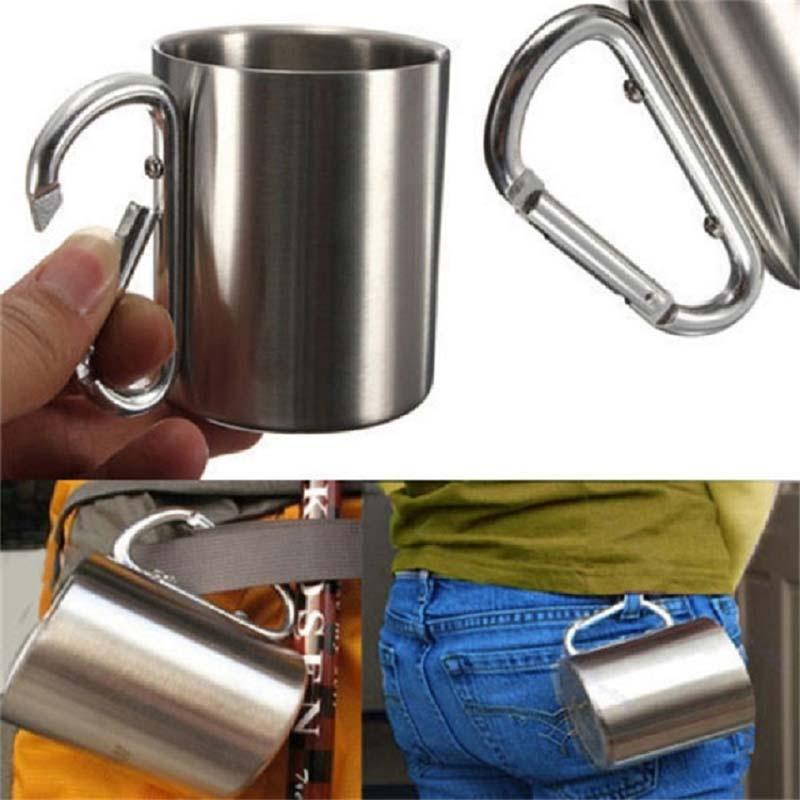 Double Wall Stainless Steel Camping Hiking Mug Outdoor Climbing Picnic Cup