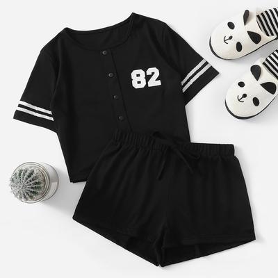 54a93de432 SHEIN Crop Varsity T-shirt And Contrast Binding Notch Shorts Set-buy ...