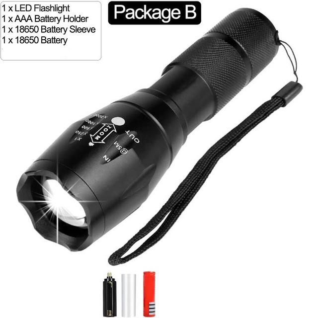Tactical Flashlight  T6 LED Super Bright 4000lm Zoomable Flashlight Torch Lamp