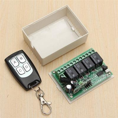 4CH 433MHZ Garage Door Remote Control Switch Relay Wireless Transmitter+Receiver