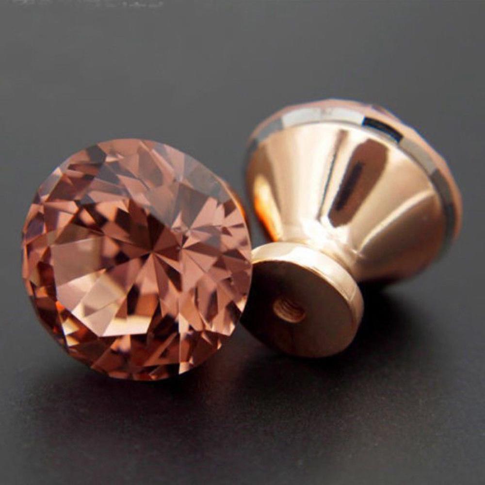 Pack Of 12 Crystal Cabinet Drawer Door Knob DIY Pull Handle Rose Gold Decoartion