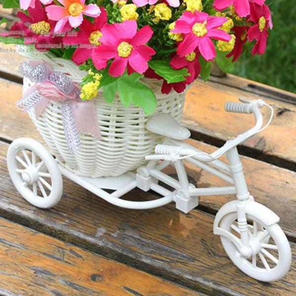 Plastic White Tricycle Bike Design Flower Basket Storage Party Decoration Hot
