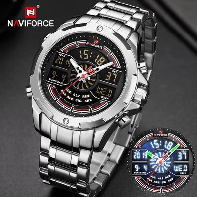Luxury Silver Watches Mens Waterproof Analog Digital Men Watches Dual Display Wristwatch Mens