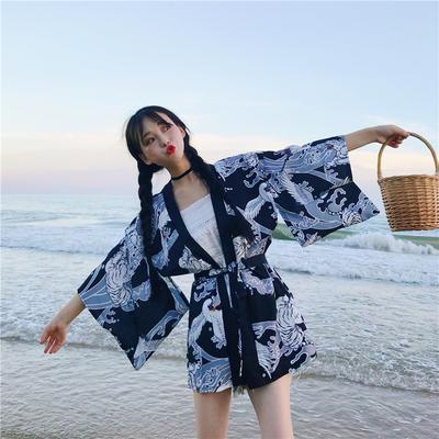 Women/'s Wide Sleeve Kimono Jacket Loose Yukata Cardigan Top Shirt Lolita YM0