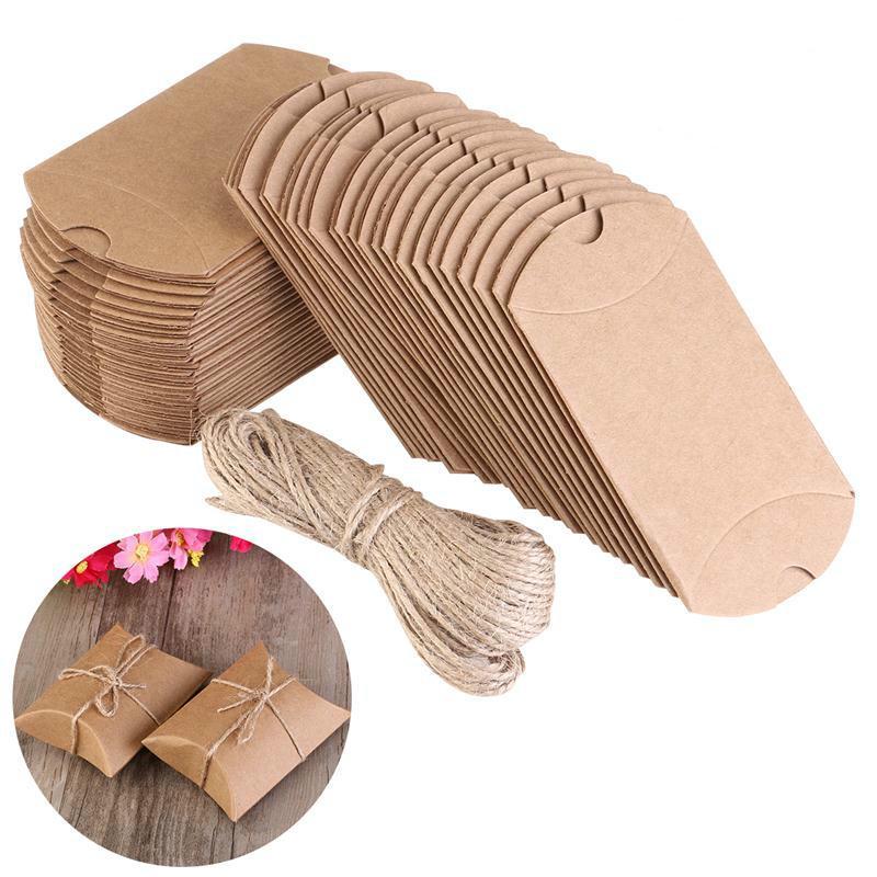 10Pcs Крафт Винтаж Коробки Браун Shabby Rustic Упаковка конфеты с веревкой Свадебный Благоприятие Pack фото