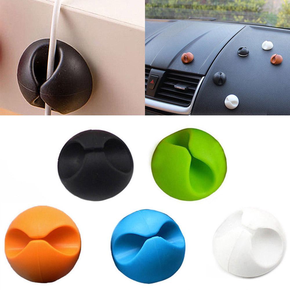 6pcs Car Auto Windshield Cables Holder Wires Clip Sticky Desk Accessories Random
