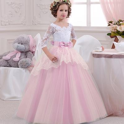 af6baf01fa0 Лук кружева платья детей цветок формальные детские для девочек