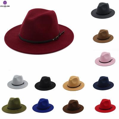 Womens Woolen Wide Brim Fedora Hat Classic Jazz Cap with Belt Buckle