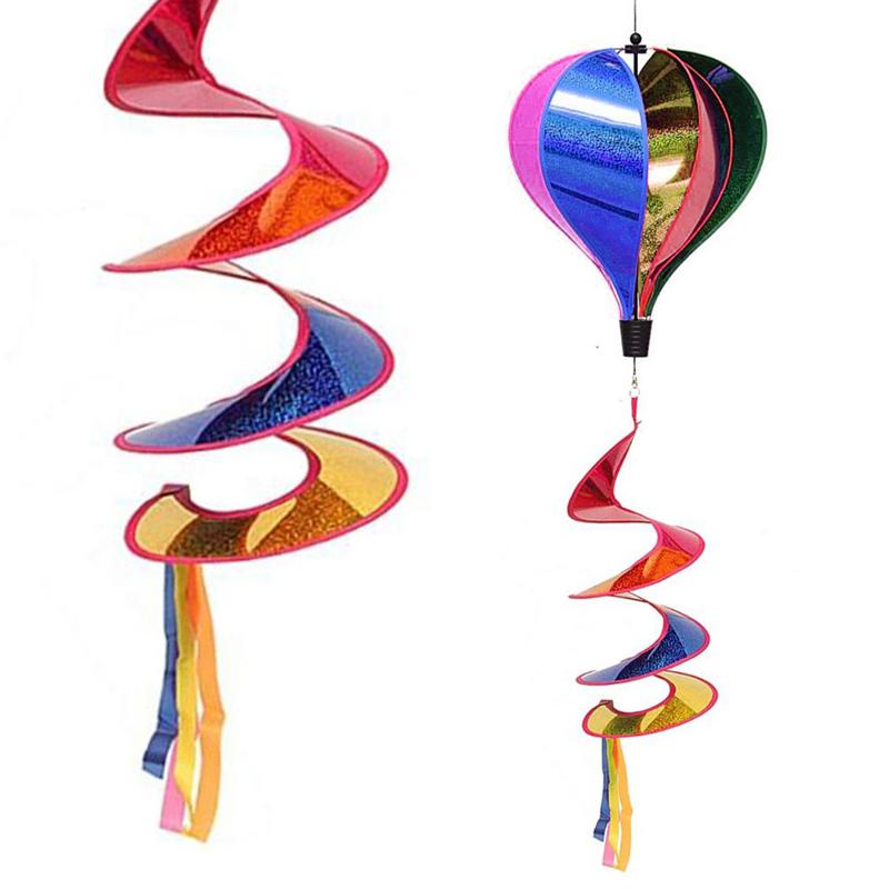 Rainbow Hot Air Balloon Sequins Windsock Striped Wind Spinner Outdoor Decor New