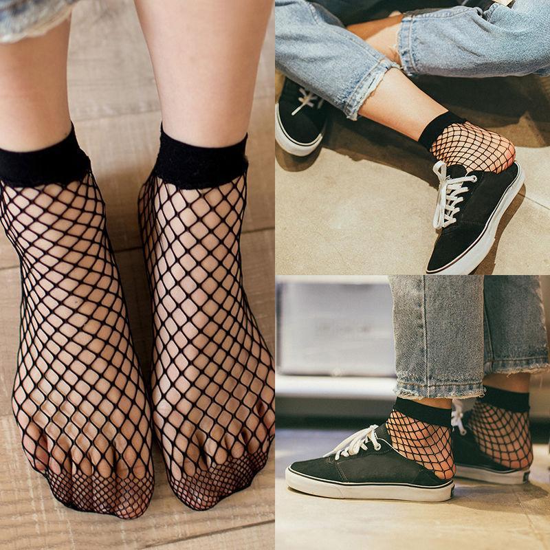 Women Fishnet Mesh Lace Elegant Ruffle Socks Sheer Short Silky Ankle H3G7