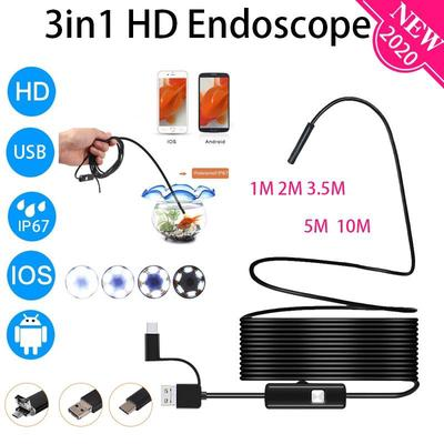 1M-10M 5.5mm Endoscope Camera 3in1 1080P Flexible USB Borescope Waterproof 8LED Inspection Borescope Camera for Android Loptop
