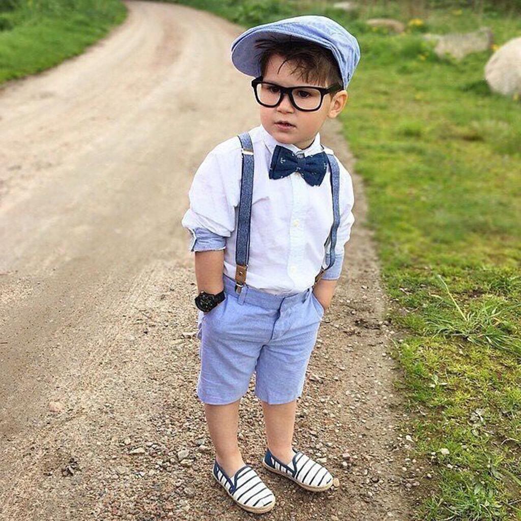 3pcs Toddler Kids Baby Boy Gentleman Outfit Clothes T-shirt Top+Shorts Belt Set