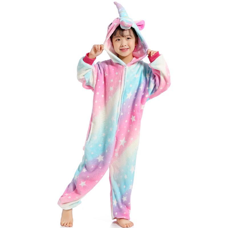 Kids Rainbow Unicorn Kigurumi Cosplay Costume Pajamas Tenma Sleepwear Xmas Party