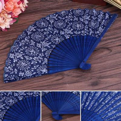Household Polyester Folding Hand Fan Dance Gift Bag Sack Holder Protector Blue