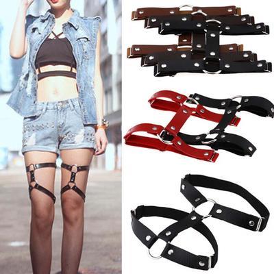 Adjustable Leather Leg Garter Belt Punk Rivet Suspenders Leg Thigh High